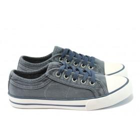 Равни дамски обувки - висококачествен текстилен материал - сини - EO-8001