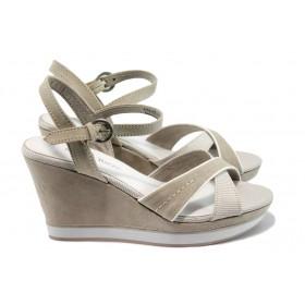 Дамски сандали - висококачествена еко-кожа - бежови - EO-8024