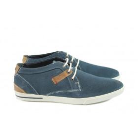 Мъжки обувки - естествен набук - сини - EO-8135