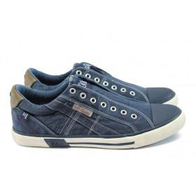 Спортни мъжки обувки - висококачествен текстилен материал - сини - EO-8183