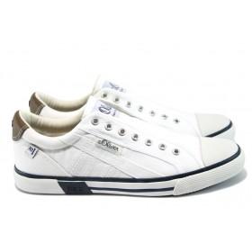 Спортни мъжки обувки - висококачествен текстилен материал - бели - EO-8184
