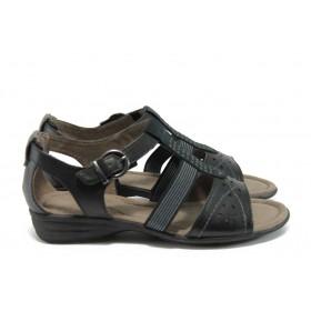 Дамски сандали - висококачествена еко-кожа - черни - EO-8234
