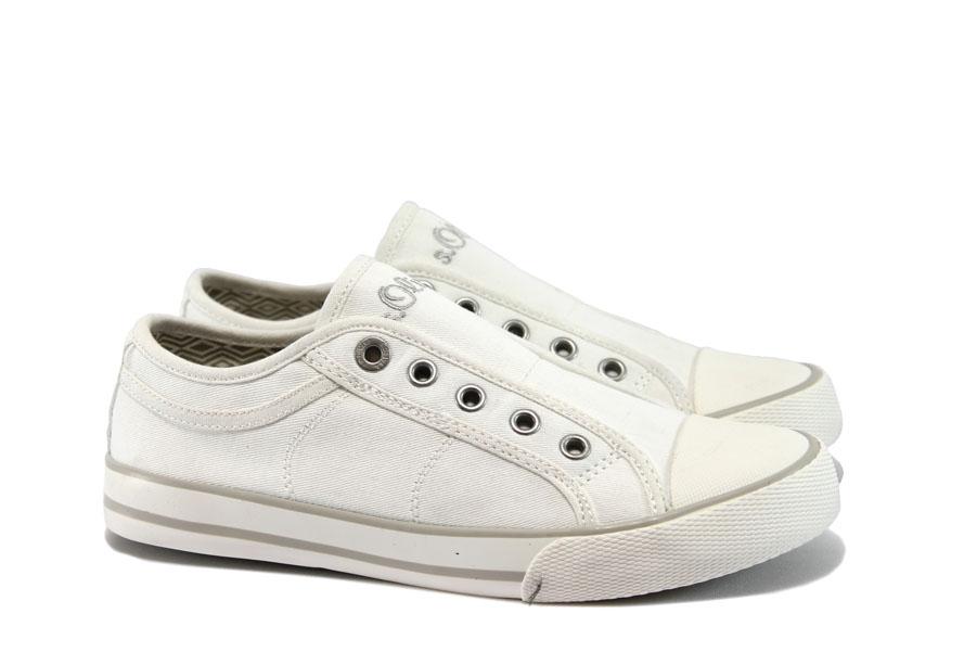 Равни дамски обувки - висококачествен текстилен материал - бели - EO-8252