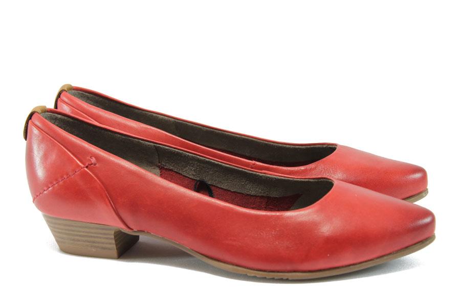 Дамски обувки на среден ток - естествена кожа - червени - EO-8267