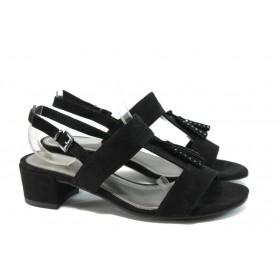 Дамски сандали - висококачествен еко-велур - черни - EO-8265