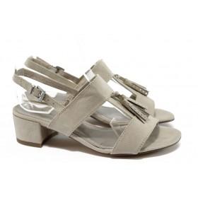 Дамски сандали - висококачествен еко-велур - бежови - EO-8264