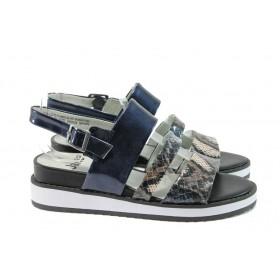 Дамски сандали - висококачествена еко-кожа - сини - EO-8266