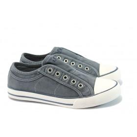 Равни дамски обувки - висококачествен текстилен материал - сини - EO-8308