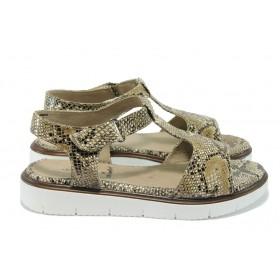 Дамски сандали - висококачествена еко-кожа - бежови - EO-8333