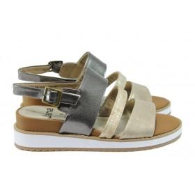 Дамски сандали - висококачествена еко-кожа - бежови - EO-8334