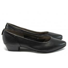 Дамски обувки на среден ток - естествена кожа - черни - EO-8339