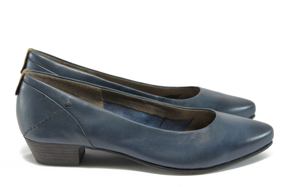 Дамски обувки на среден ток - естествена кожа - тъмносин - EO-8340