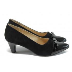 Дамски обувки на среден ток - естествена кожа с естествен велур - черни - EO-8336