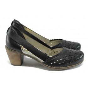 Дамски обувки на среден ток - естествена кожа - черни - EO-8337