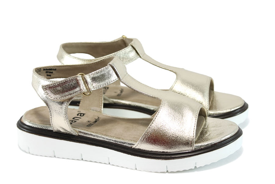 Дамски сандали - висококачествена еко-кожа - бежови - EO-8338