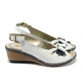 Дамски сандали - естествена кожа - бели - EO-8376