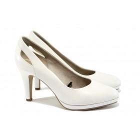 Дамски обувки на висок ток - естествена кожа - бели - EO-8387