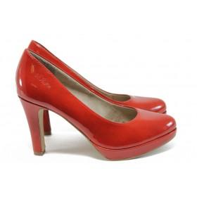 Дамски обувки на висок ток - еко кожа-лак - червени - EO-8378