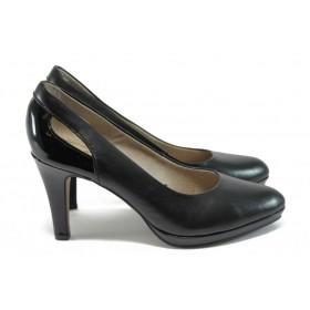 Дамски обувки на висок ток - естествена кожа - черни - EO-8379