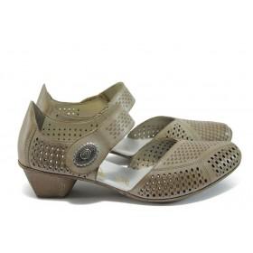 Дамски обувки на среден ток - естествена кожа - бежови - EO-8389