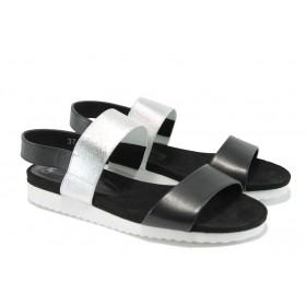 Дамски сандали - естествена кожа - черни - EO-8390