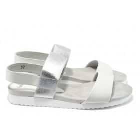 Дамски сандали - естествена кожа - бели - EO-8391