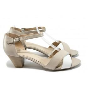 Дамски сандали - естествена кожа - бежови - EO-8392