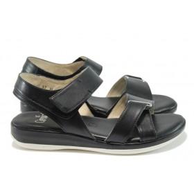 Дамски сандали - естествена кожа - черни - EO-8393