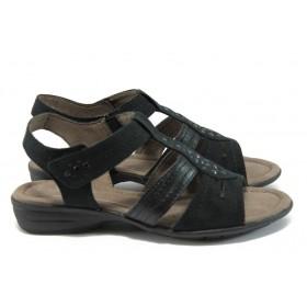 Дамски сандали - еко-кожа с текстил - черни - EO-8394