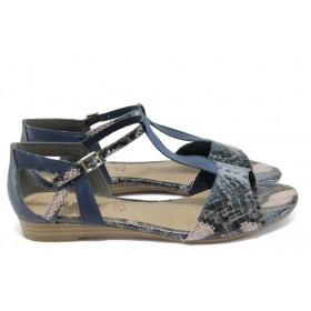"""Дамски сандали - естествена кожа с """"кроко"""" мотив - тъмносин - EO-8395"""