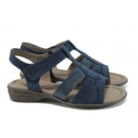 Дамски сандали - еко-кожа с текстил - тъмносин - EO-8408