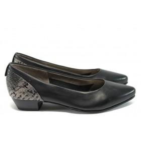 Дамски обувки на среден ток - естествена кожа - черни - EO-8404