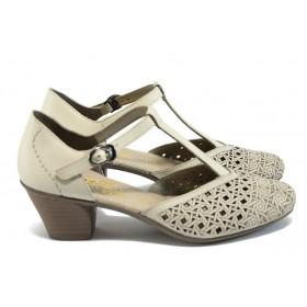 Дамски обувки на среден ток - естествена кожа - светлобежов - EO-8406