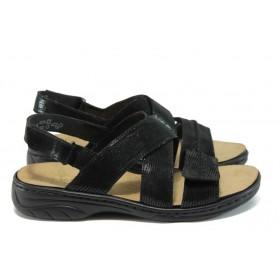 Дамски сандали - естествена кожа - черни - EO-8429