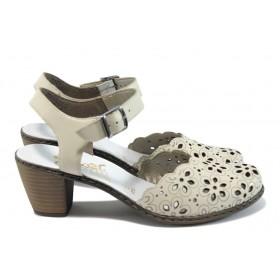 Дамски сандали - естествена кожа - светлобежов - EO-8431