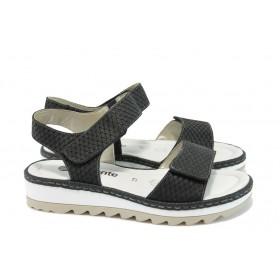 Дамски сандали - естествена кожа - черни - EO-8434