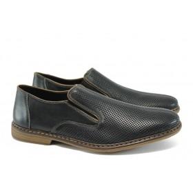 Мъжки обувки - естествена кожа - черни - EO-8435