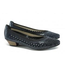 """Дамски обувки на среден ток - естествена кожа с """"кроко"""" мотив - сини - EO-8437"""