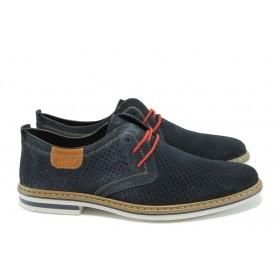 Мъжки обувки - естествен набук - тъмносин - EO-8436