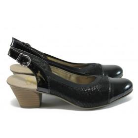 Дамски обувки от естествена кожа Rieker 45071-01 черен ANTISTRESS