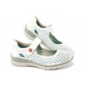 Равни дамски обувки - естествена кожа - бели - EO-8455