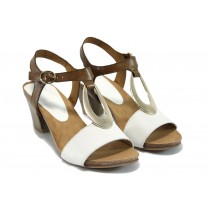 Дамски сандали - естествена кожа - бели - EO-8458