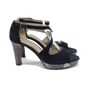 Дамски сандали - естествен велур - тъмносин - EO-8460