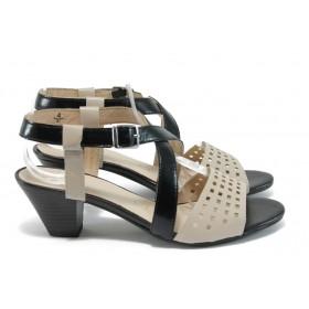 Дамски сандали - естествена кожа - черни - EO-8461