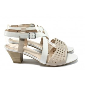 Дамски сандали - естествена кожа - бели - EO-8466