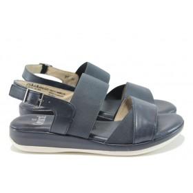 Дамски сандали - естествена кожа - тъмносин - EO-8463