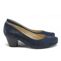 Дамски обувки на среден ток - естествена кожа - тъмносин - EO-8464