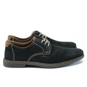 Мъжки обувки - естествен набук - тъмносин - EO-8467
