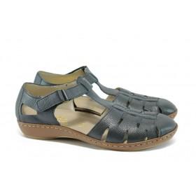 Равни дамски обувки - естествена кожа - тъмносин - EO-8497