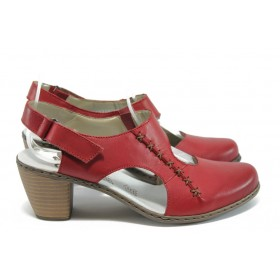 Дамски обувки на среден ток - естествена кожа - червени - EO-8517